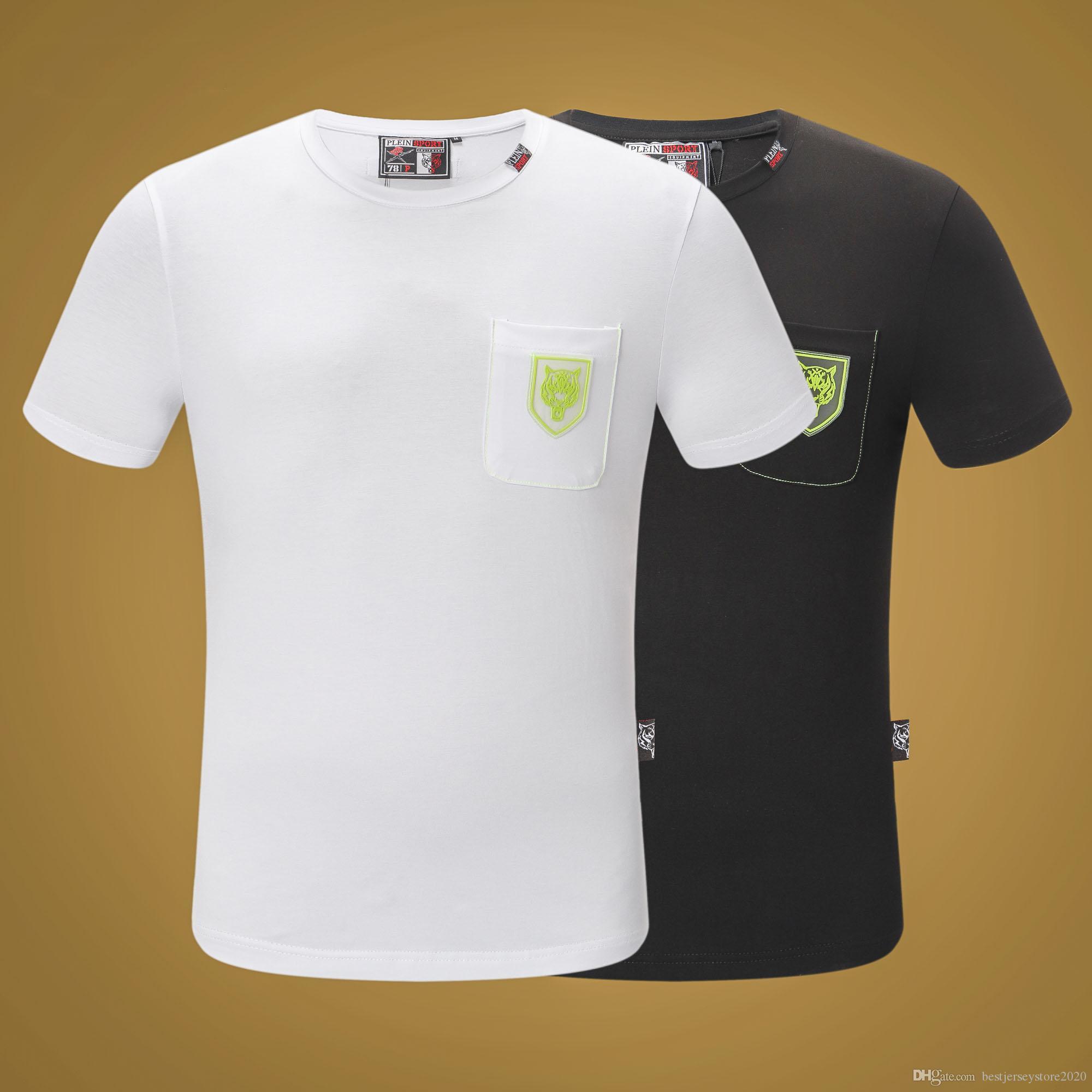 Neue Luxus-Mode Luxus Qualitätsmarke Plam Engel Männer-T-Shirt mit menschlichen Schädeldruck-T-Shirt Kurzarm-Mode-T-Shirt mit menschlichen Schädel