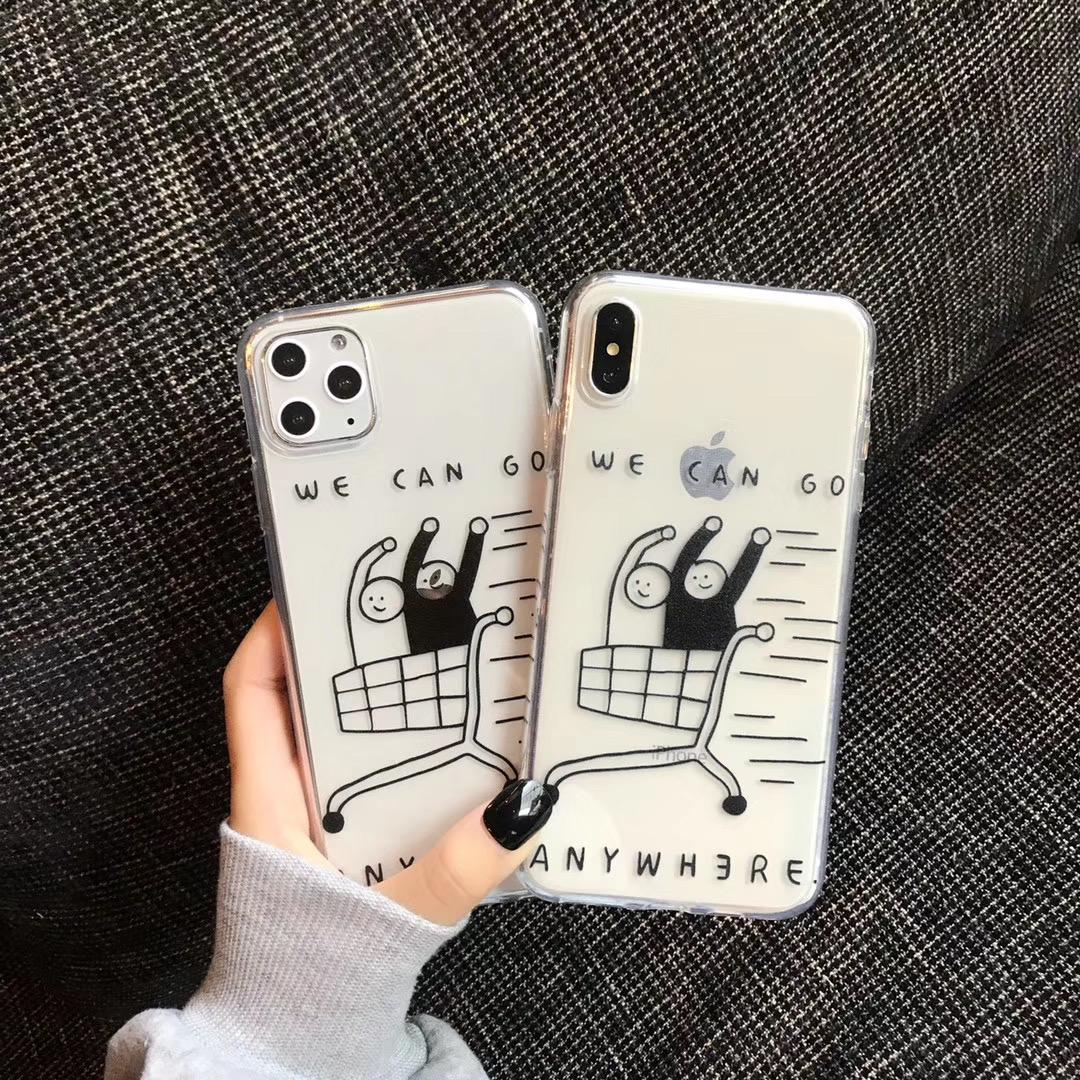 Simple fashion cool fun pattern shopping couple phone case for iPhone 11 pro MAX Xs MAX Xr X 6 6s 7 8plus soft TPU back cover