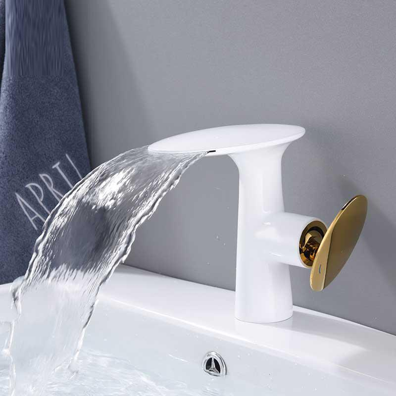 Basin Faucet Single Lever Gold Waterfall Crane White Bathroom Vessel Sink Tap Deck Mount Mixer Hot Cold water