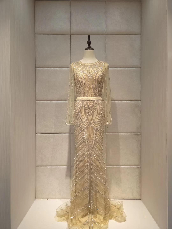 2019 Luxury Strass sera della sirena vestito da sera lungo di spettacolo Abiti abito formale robe de soiree TY009