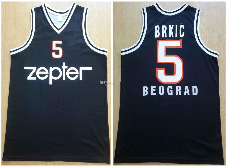 Haris BRKIC # 5 kk Partizan Belgrad Black Retro Basketball Jersey Männer genäht Benutzerdefinierte Nummernname Trikots