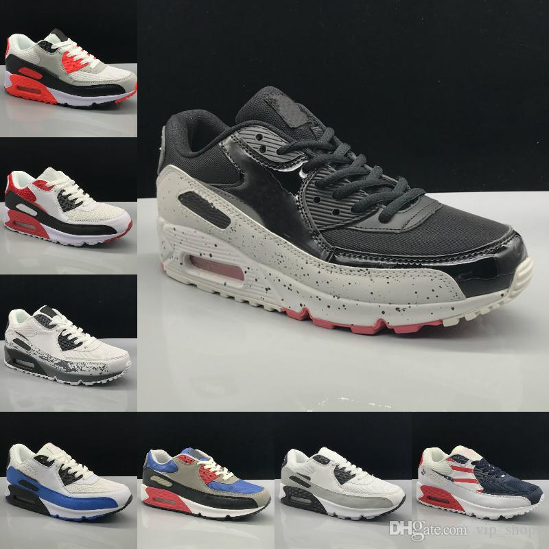 2019 New Air Cushion 90 Casual Running Shoes Men Women Cheap Black White Red 90 Sneakers Classic Air90 Outdoor Fashion Casual Sports Shoes