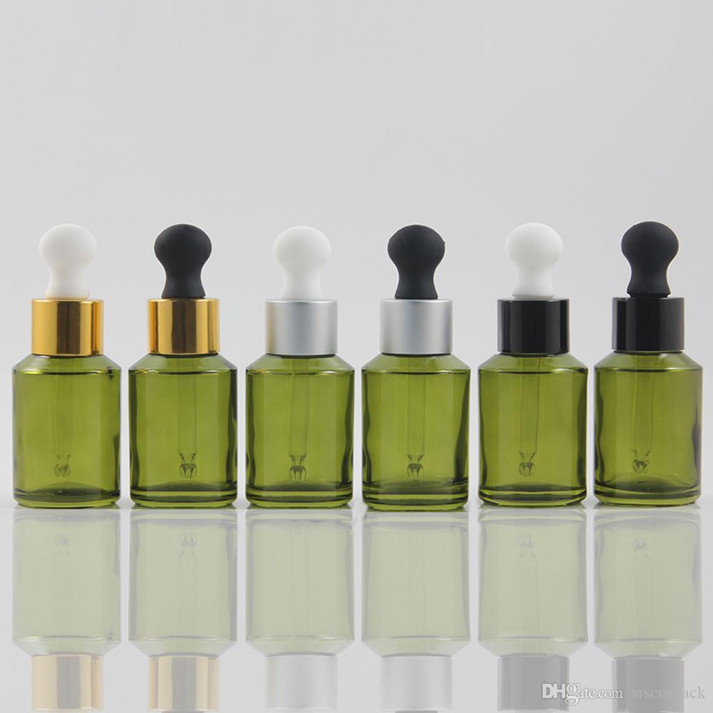 UV 실버 칼라와 평면 실리콘 적기 머리, 1온스 에센셜 오일 병 포장 도매 30ML 녹색 유리 dropper 병