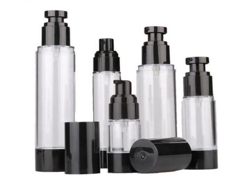 15ml 30 ml 50 ml 80 ml 100 ml 100 ml de pompe sans air noir bouteille de distributeur de pompe à lotion rechargeable de la lotion à vide d'atomiseur de bouteille