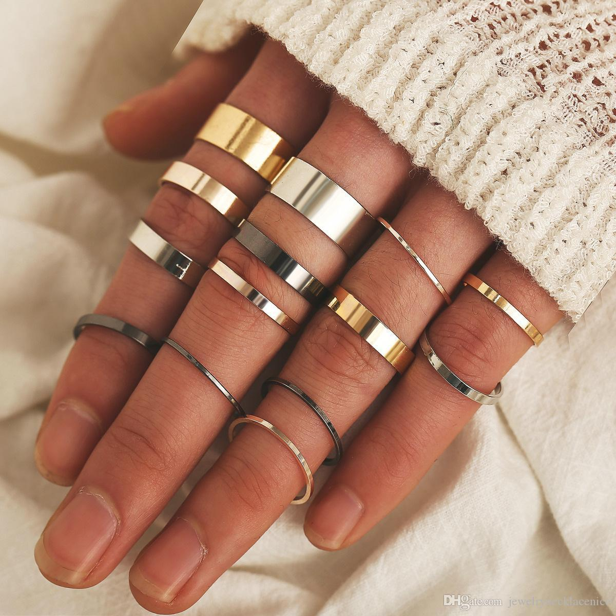 14 Pcs/Set Women Fashion Gold Silver Black Rings Set 2020 Mix Finger Joint Ring Boho Vintage Round Knuckle Ring Jewelry Gifts Wholesale