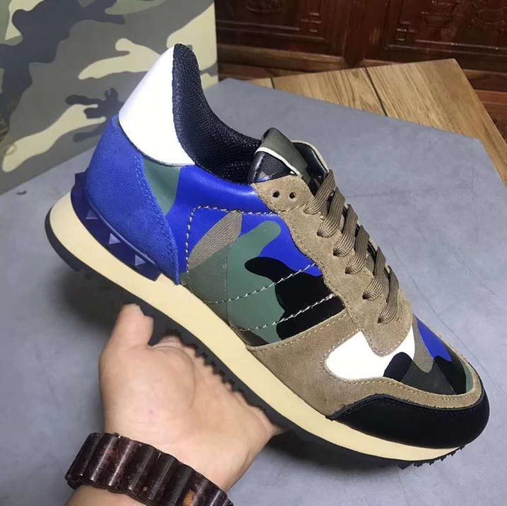 Новая обувь Мода шпильки камуфляж кроссовки обувь Обувь Мужчины Женщины квартиры роскошный дизайнер Rockrunner тренеры Повседневная обувь с оригинальной коробкой