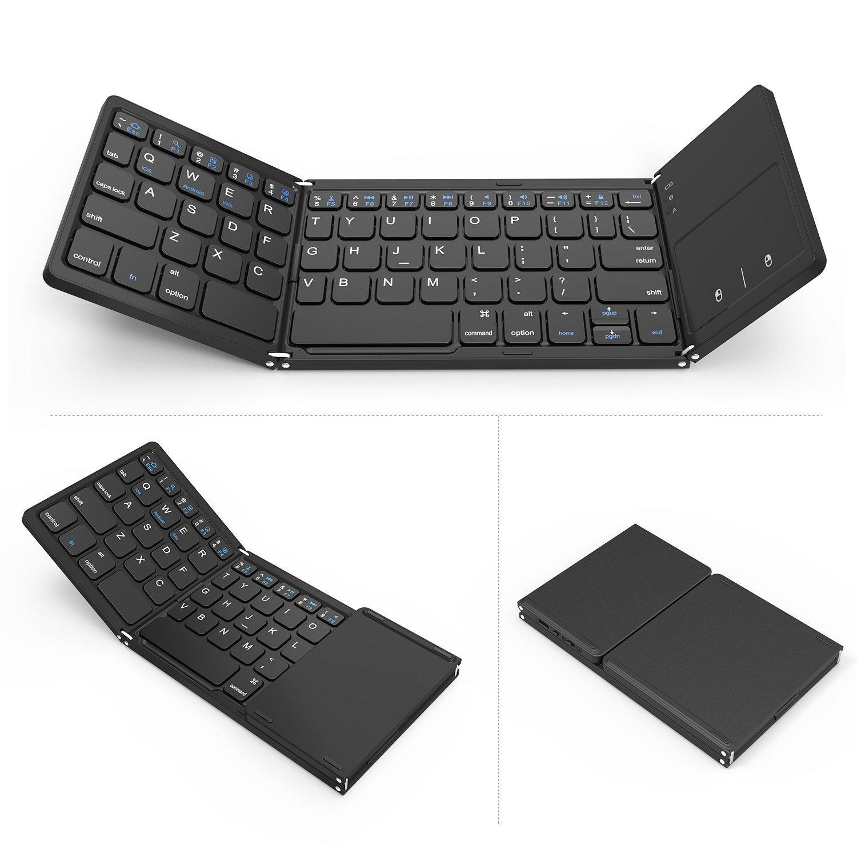 mini portátil teclados plegables teclado inalámbrico Bluetooth con panel táctil del ratón para Windows, Android, iOS, iPad, teclado inalámbrico Teléfono