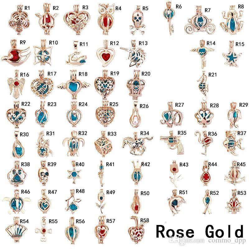 Moda per perla gabbia pendenti in oro rosa argento placcato gioiello perline fluttuanti medaglioni charms per collane fai da te making in bulk all'ingrosso