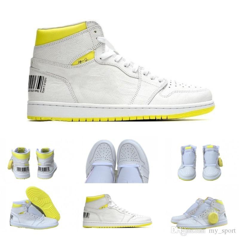 I più recenti 1s First Class codice volo 555088-170 uomini scarpe da basket 1s codice a barre giallo limone sneaker spedizione gratuita di alta qualità