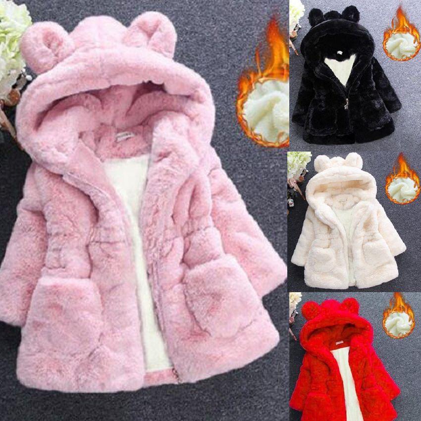 Benemaker Children Winter Faux Fur Fleece Jackets For Girls Clothing Parkas Warm Coats Overalls Hooded Baby Kids Outerwear JH137 MX191024