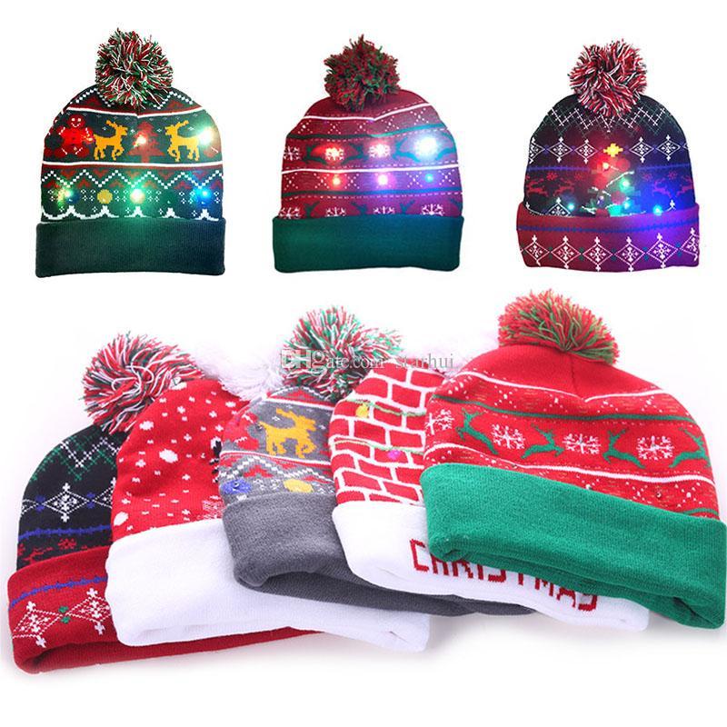 LED 눈송이 폰 크리스마스 니트 모자 파티 모자 여성 아동 따뜻한 볼 모자 생일 파티 크리스마스 비니 모자 WX9-1775