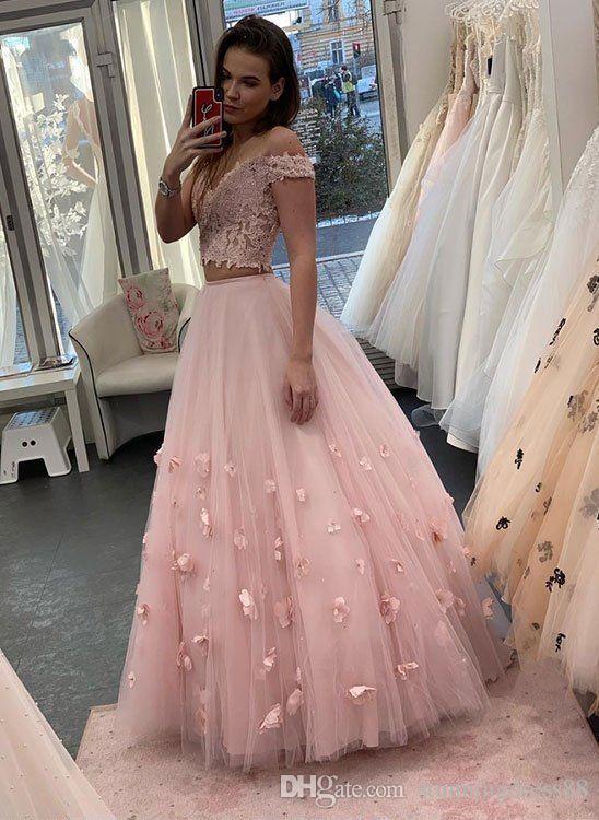 Romântico Rosa Duas Peças Vestidos de Baile fora dos ombros Tule Uma linha 3D Floral Flores Rendas Evening Vestido Formal Do Partido Cocktail Dress Vestidos