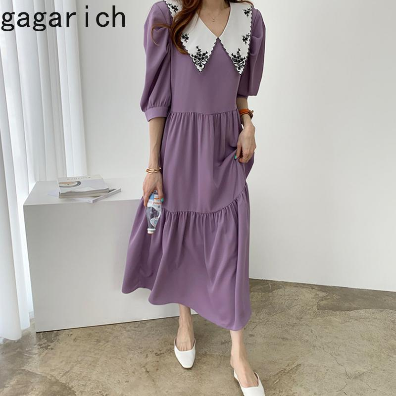 Gagarich Mulheres Verão Vestido coreano estilo chique boneca Collar bordado design soltas plissadas Puff manga curta Vestidos