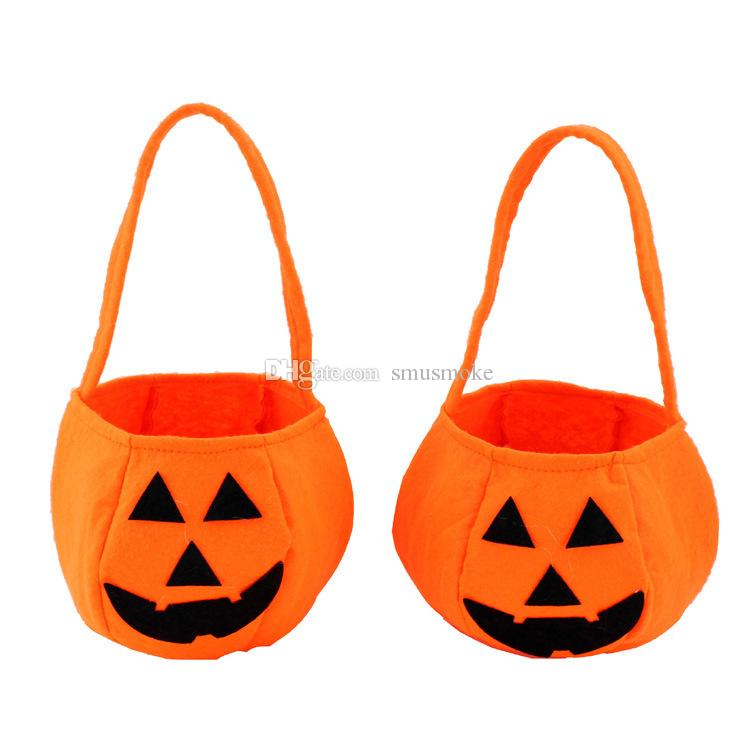 Halloween Pumpkin Head Bag Candy Hand Bag Trick or Treat Cute Smile Basket Face Niños Regalo Handhold ST003