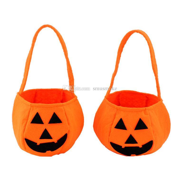 Traitement de la citrouille Smile cadeau sac à main poignée Halloween Sac Sac Face Panier Joli enfant ST003 Truc ou Evpnn