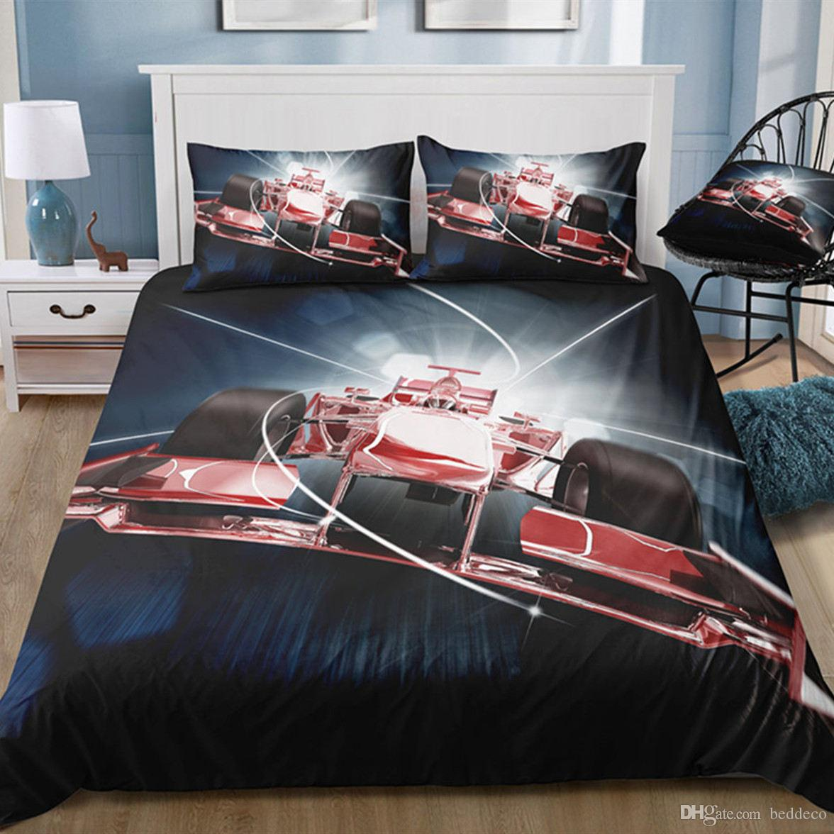 King Size Bedding Set Racing Car la mode cool Vente Hot Housse de couette Reine double pleine double Lit simple couverture avec Taie