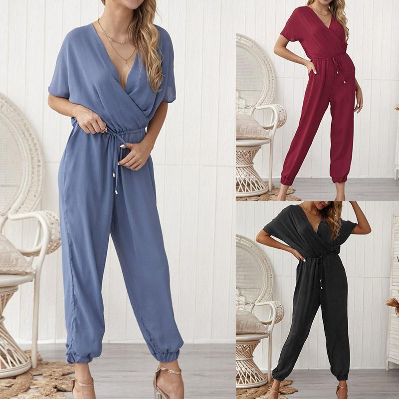 Nice Women Loose Jumpsuit V Neck Slim Fit Short Sleeves Casual Long Rompers For Summer 88