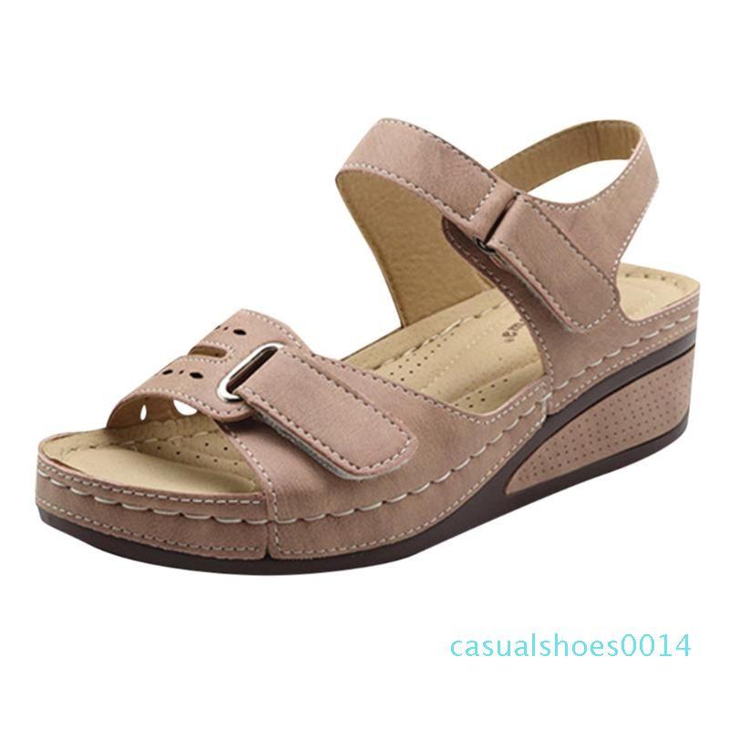 JAYCOSIN Frauen-Sommer-Schuh-Plattform-Soft-Bottom-Sandelholz-Frauen-Blick-Zehe-Keil-Ferse Sandalia Leder Weibliche Sandalen Schuhe c14