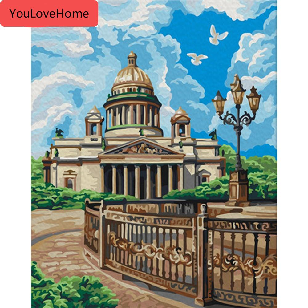 Oil Painting By Numbers City Scenery Kits Drawing Canvas Diy Handpainted Pictures Coloring Art Gift Home Decor