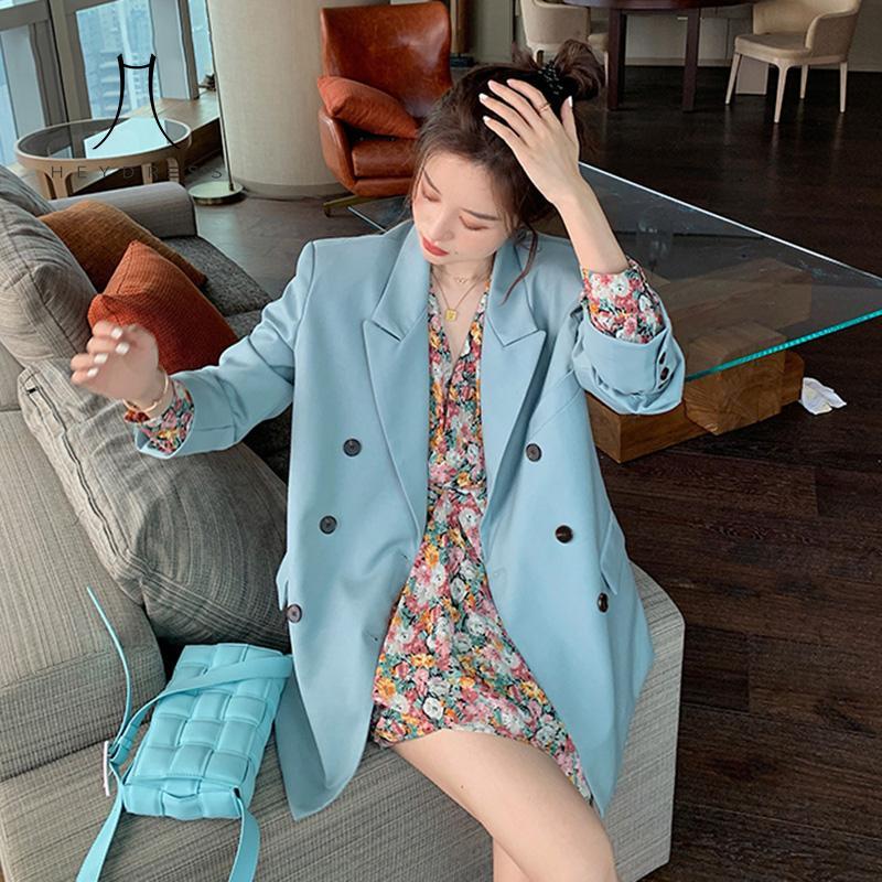 Heydress Женщины Spring Двойного Брестед Пиджаки Vintage Зубчатых Женская Мода куртка Повседневного Street офис Lady Кармана Outwears