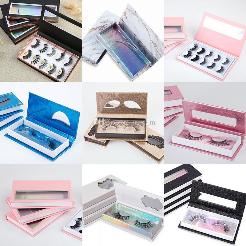 المغناطيسي جلدة صندوق مع علبة رمش 3D المنك الرموش صناديق الرموش الصناعية التغليف حالة إفراغ أدوات رمش صندوق التجميل DHL مجانا