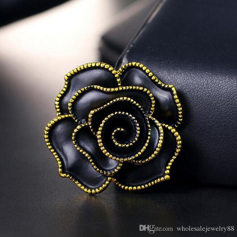 Wholesale Black Enamel Rose Flower Brooch Pins Bouquet Corsage Women Girl Suit Dress Brooches Accessories Jewelry