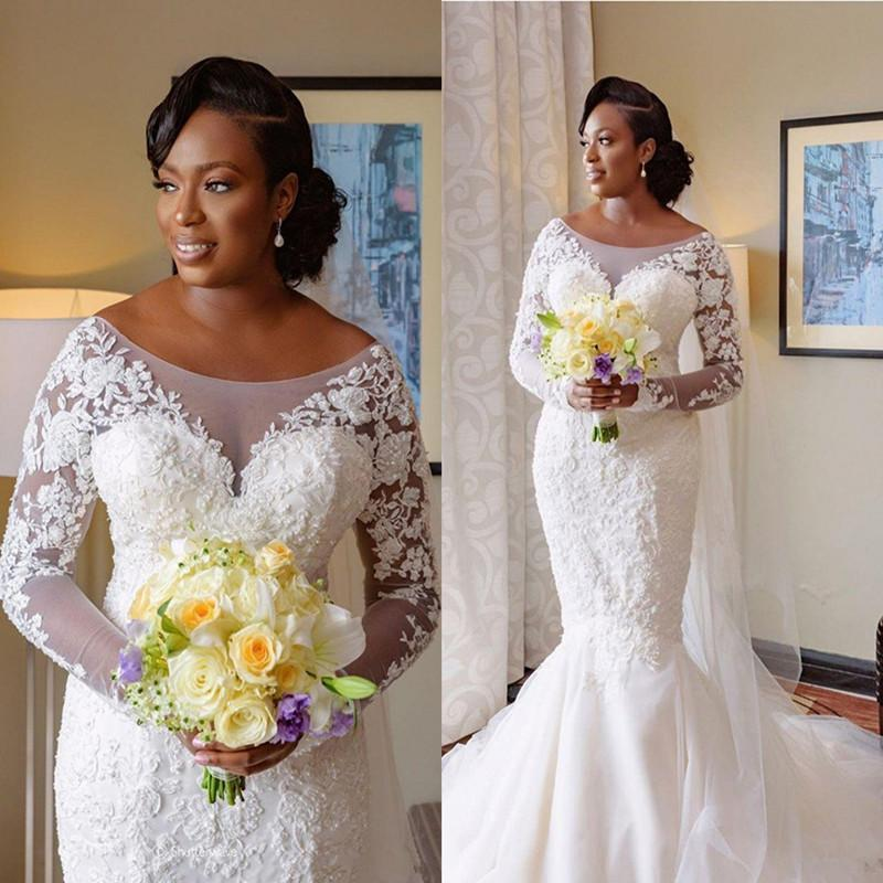 Robe à manches longues de mariage 2020 Scoop africaine cou dentelle transparente cou Appliques Robes de mariée sirène de balayage Trail Taille personnalisée