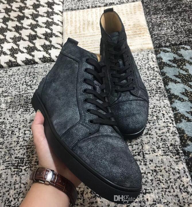 Marken-Designer-Wohnungen-roter untere Schuhe Luxus Spitzenschuhe für Männer Frauen Designer-Turnschuhe hohen Suede echten Sneaker Trainer mit dem Kasten