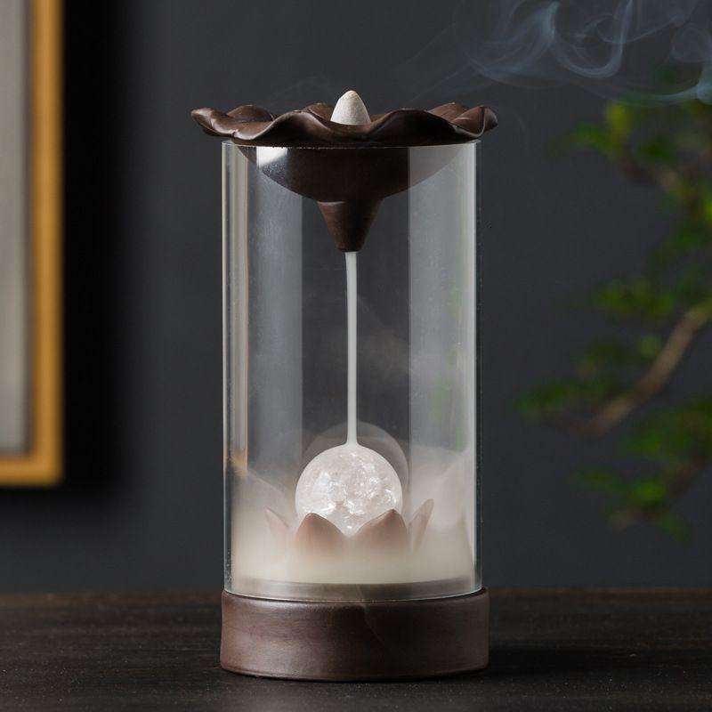 Электронный обратный поток курильница творческий домашний декор светодиодный светящийся шар лампа курильница дым водопад держатель используется в доме SH190926