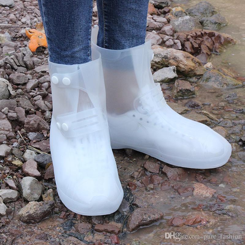 ماء حامي الأحذية التمهيد غطاء للجنسين إبزيم المطر الحذاء يغطي عالية أعلى مكافحة زلة ثخن أحذية المطر الحالات 2 زوج / 4 قطع