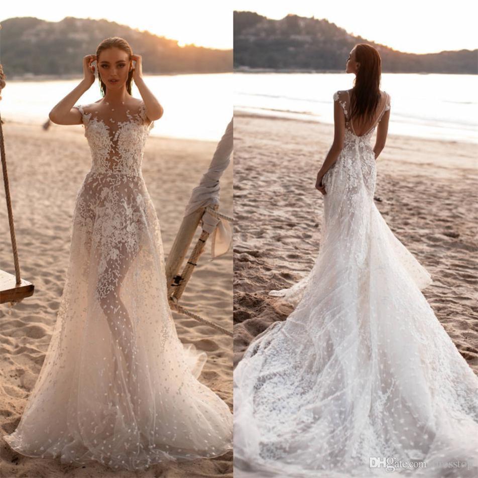 Milla Nova Sexy Beach Brautkleider 2020 mit Flügelärmeln Illusion Boho Brautkleider Hofzug Tüll Roben de mariée