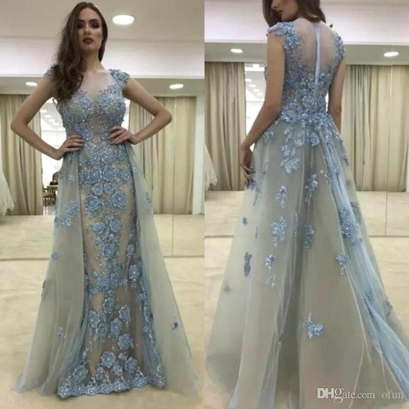 Sexy Lace Capped Sleeve Mermaid Evening Dress Detachable Removable Skirt Sequins Beads Long Prom Dress With Appliques