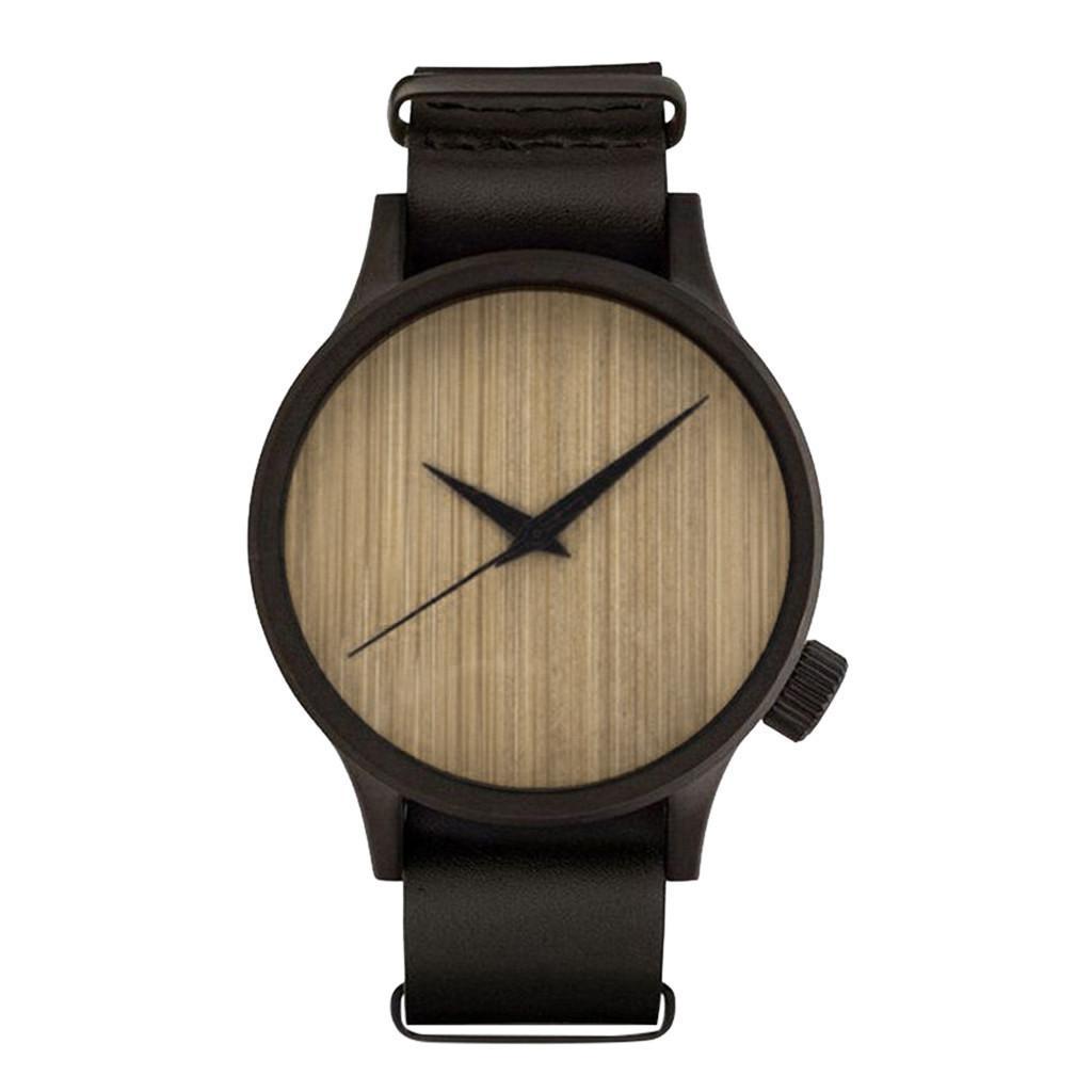 Pares de la manera Relojes unisex de bambú del reloj de los hombres de madera de cuero de vigilancia de la calidad de la banda Los relojes del cuarzo Relojes versátiles
