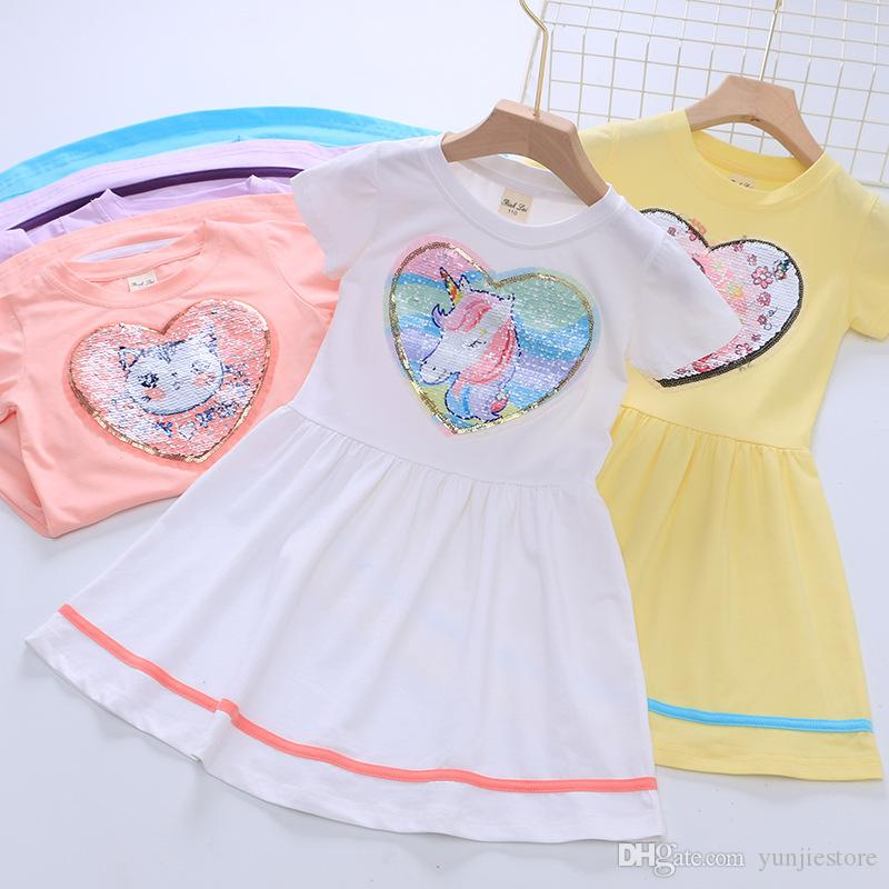 Factory kid boutique clothing frock short sleeve summer fashion girls dress with sequins princess birthday party dresses