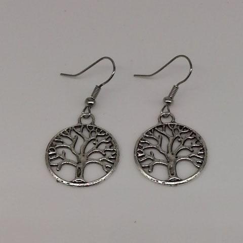 Al por mayor-Antique Silver Tree Of Life Charm Pendientes 925 Silver Fish Ear Hook Chandelier