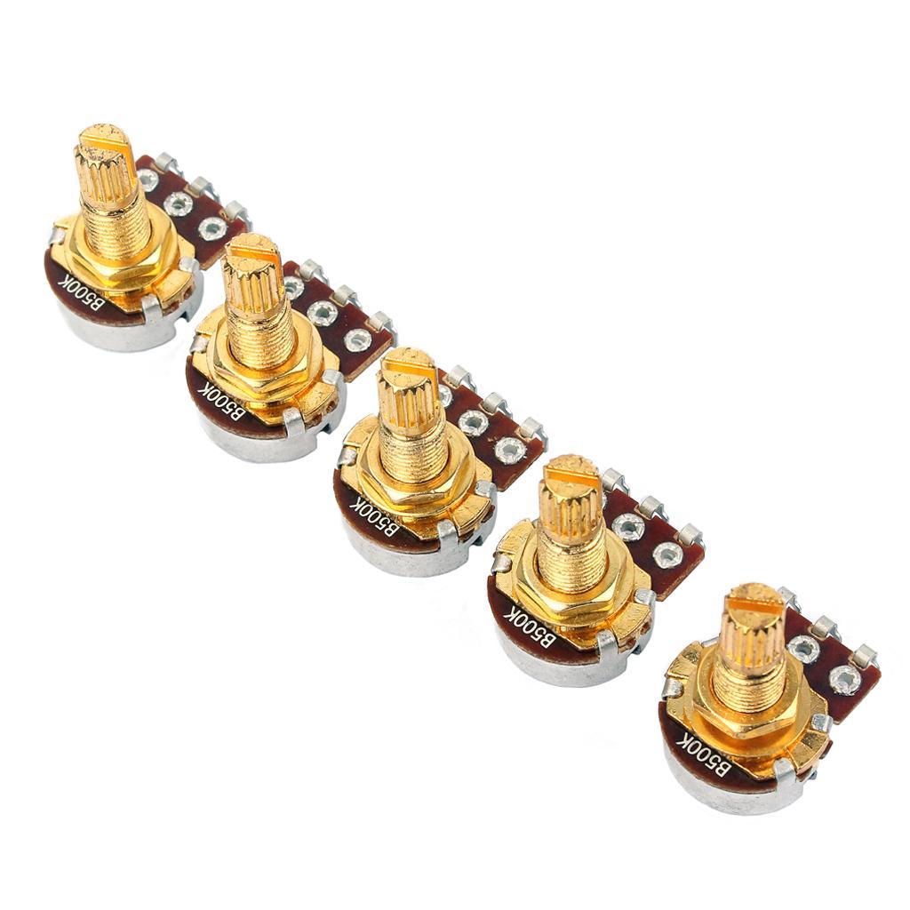 Del mismo tamaño A500K corto eje dividido de 18 mm Volumen del tono de la guitarra Ollas Mini potenciómetro Accesorio para la guitarra eléctrica Pack de 5