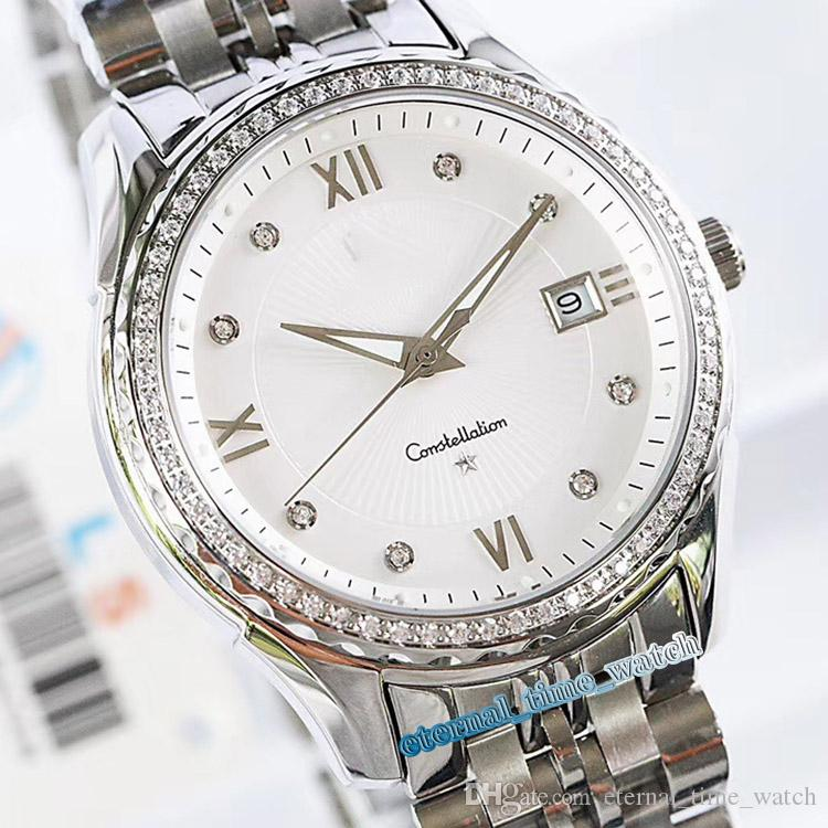 High version New CONSTELLATION 111.55.36.20.58.00 White Dial Silver diamond Case Japan Miyota 8215 Automatic Mens Watch 316L Steel Band