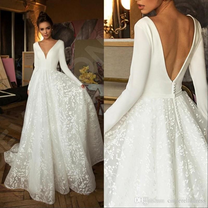 2020 Elegant Boho Long Sleeve Wedding Dresses V Neck Covered Button Backless Lace Train Bridal Gown Vestido de Novia