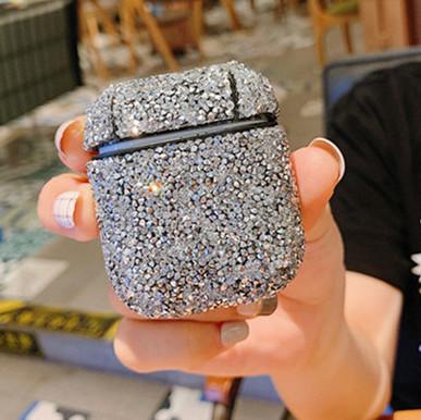 1PCS diamant Case Brillante Glistening point d'onde pour AirPod pour Apple Airpods1 / 2 Protecteur pour cosses Air