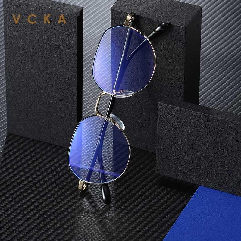 VCKA Anti Bleu Lunettes Ordinateur Femmes Bleu légère couche de blocage Nocif cadre métallique hexagonal Lunettes de jeu Lunettes Homme