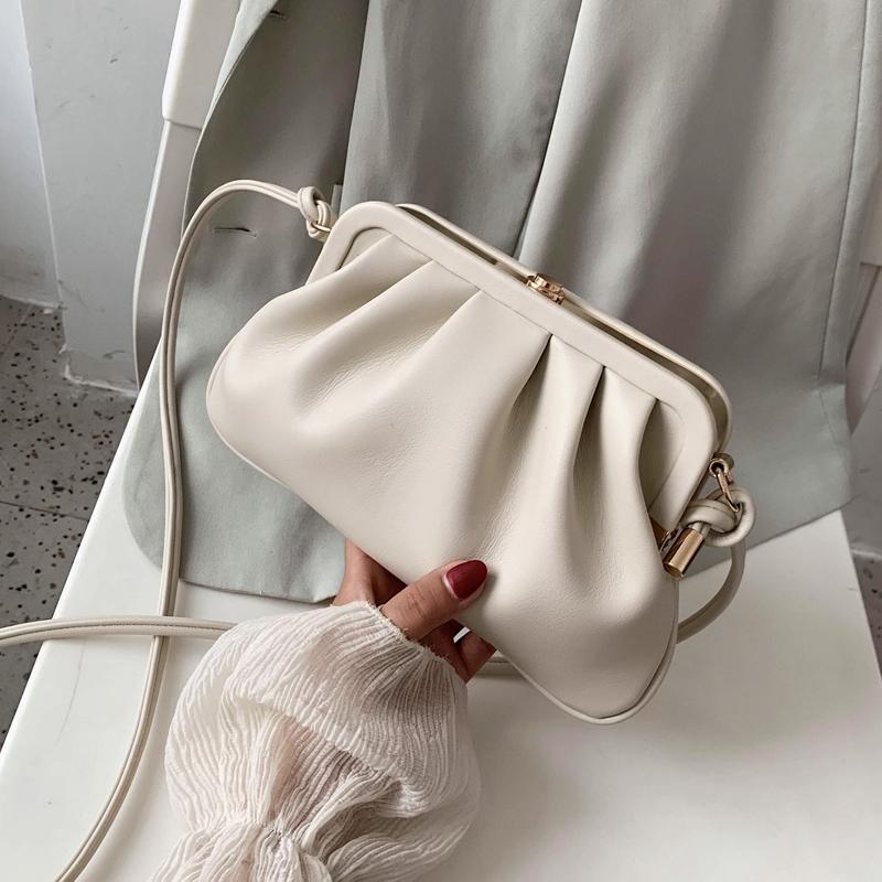 Moda Clip Shell Wpmen Bolsa de hombro bolsa de mensajero Hobos suave cuero de la PU Crossbdoy bolso de la señora embrague monederos 2020