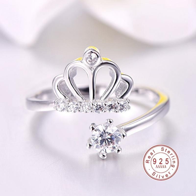2020 argento di modo 925 cavo corona di personalità principessa anello per le donne zircone festa di anniversario dei monili degli anelli