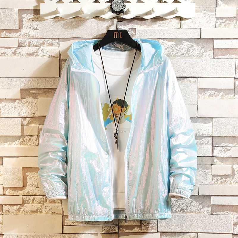 İnce ceketler Yaz Erkekler Oversize Yansıtıcı Bombacı Ceket Moda Kore Retro UV Koruyucu Giysi Japon Streetwear Coats