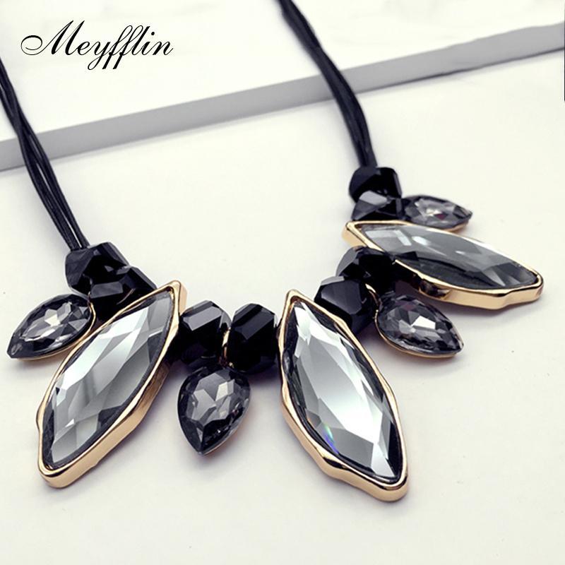 Meyfflin Женщины Кристалл Ожерелье Ювелирные Изделия 2019 Мода Заявление Ожерелья Подвески Старинные Колье Колье Макси Бижутерия