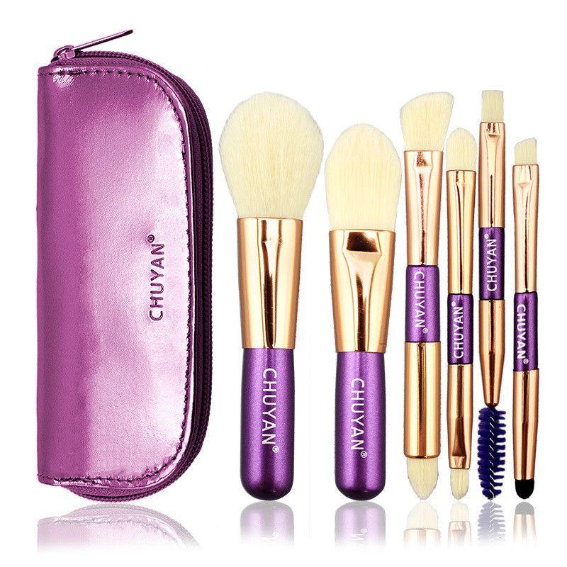 6pcs Makeup Brushes Set with Cosmetic bag Professional Mini Travel Foundation Eyeshadow Lip Eyelashes Brush Wood Handle Make up brushes Tool