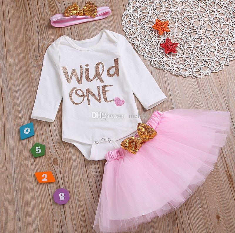 """Wild One"" girls boutique outfits kids birthday outfits clothes newborn white letter bodysuit bodysuits & pink grils skirt & headband"