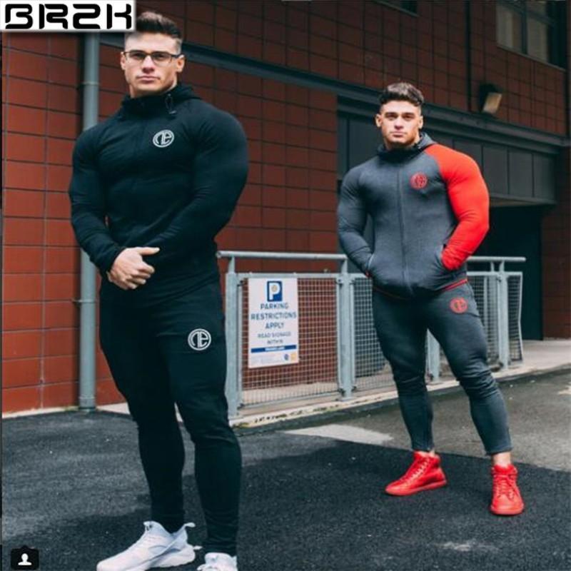 2019 Ginásios novos homens agasalho calças Define Moda camisola suar ternos heren kleding ocasional aptidão Outwear conjunto corredor