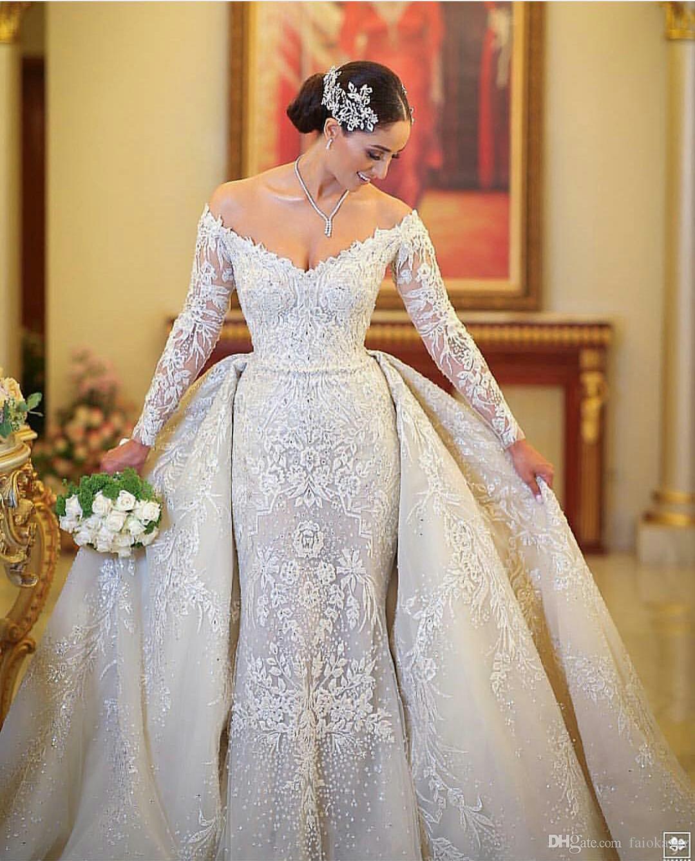 2019 Sereia De Luxo Vestidos De Casamento Com Trem Destacável Off The Shoulder Lace Appliuqed Beads Vestidos De Noiva Modest Vestido De Noiva Longo