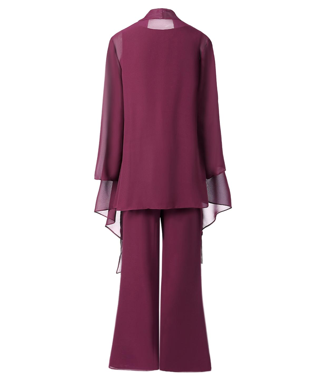 SOLOVEDRESS Women 3 Pieces Chiffon Mother of the Bride Dress Pant Suits with Sleeves Outfit Jacket Wide Pantsuit SL-M13