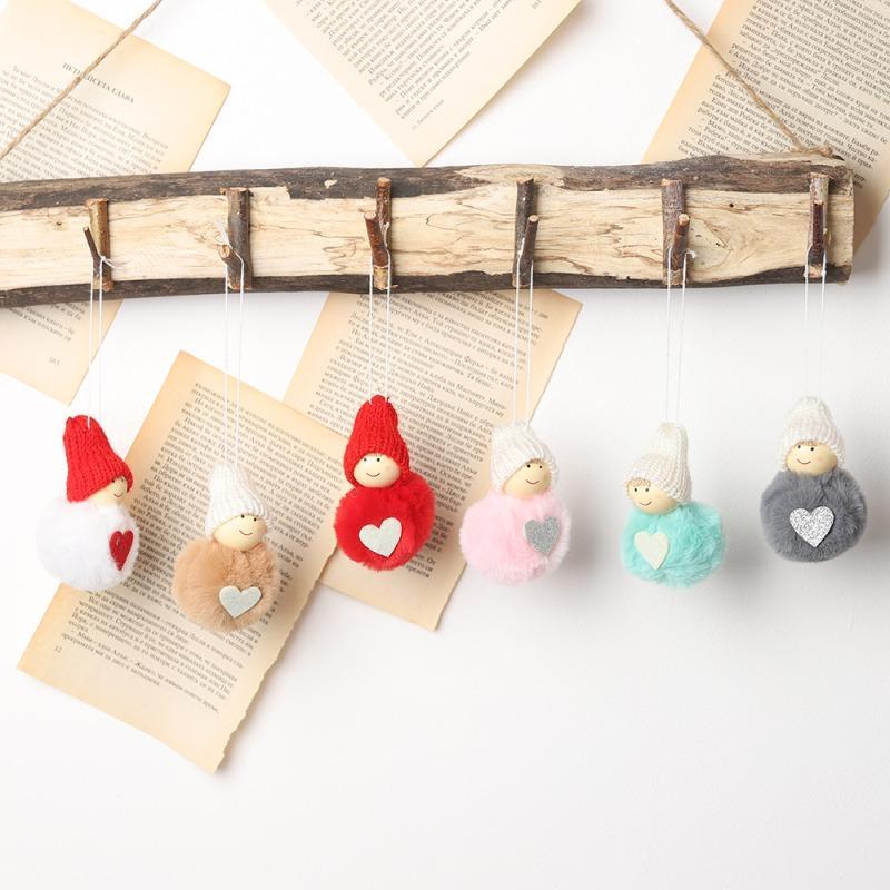 De noël En Peluche Mignon Ange Poupée Pendentifs Arbre De Noël Suspendus Ornements Nouvel An Enfants Cadeau Jouets Kaki Gris Blanc Rouge